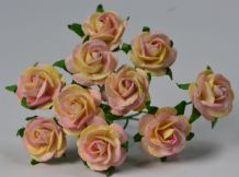 1.5cm LIGHT PINK & YELLOW Mulberry Paper Roses